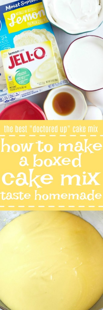 "his is the best way to make a boxed cake mix taste homemade! Use a convenient & inexpensive boxed cake mix along with a few staple pantry ingredients to ""doctor up"" the cake mix. The result will be a perfectly moist, fluffy, rich cake that tastes like it came from a bakery."