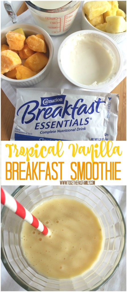 TROPICAL VANILLA BREAKFAST SMOOTHIE | www.togetherasfamily.com #ad #CarnationSweepstakes #BetterBreakfast
