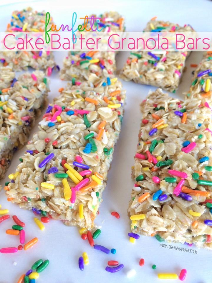 FUNFETTI CAKE BATTER GRANOLA BARS | www.togetherasfamily.com