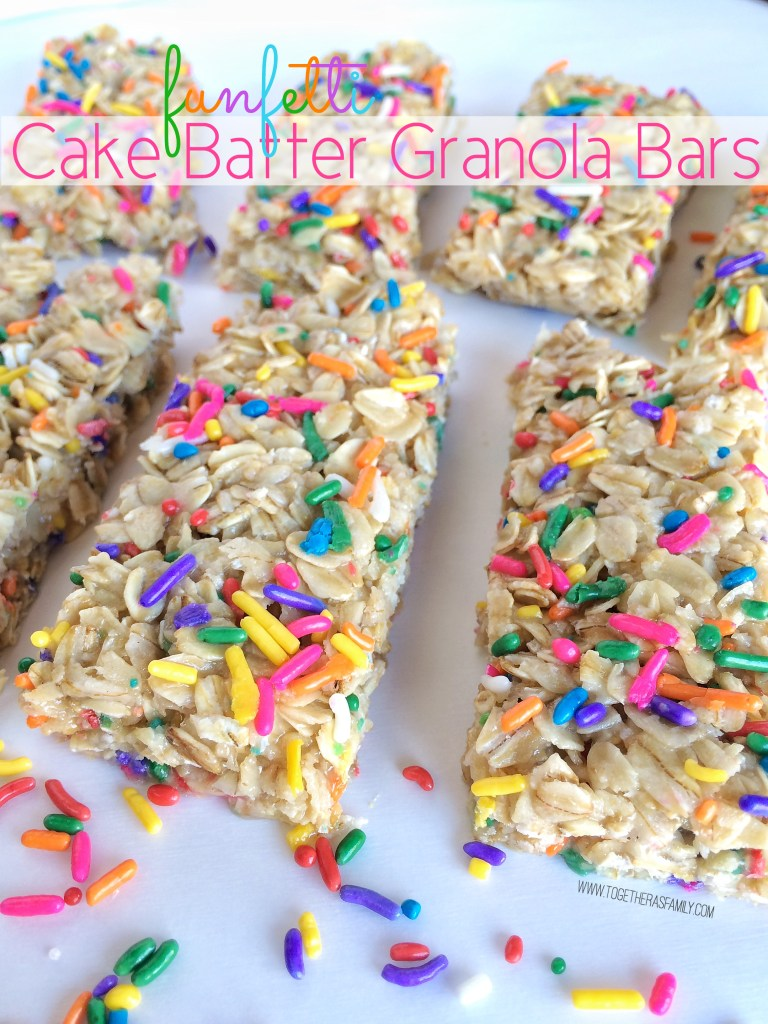 FUNFETTI CAKE BATTER GRANOLA BARS | www.togetherasfamily.com