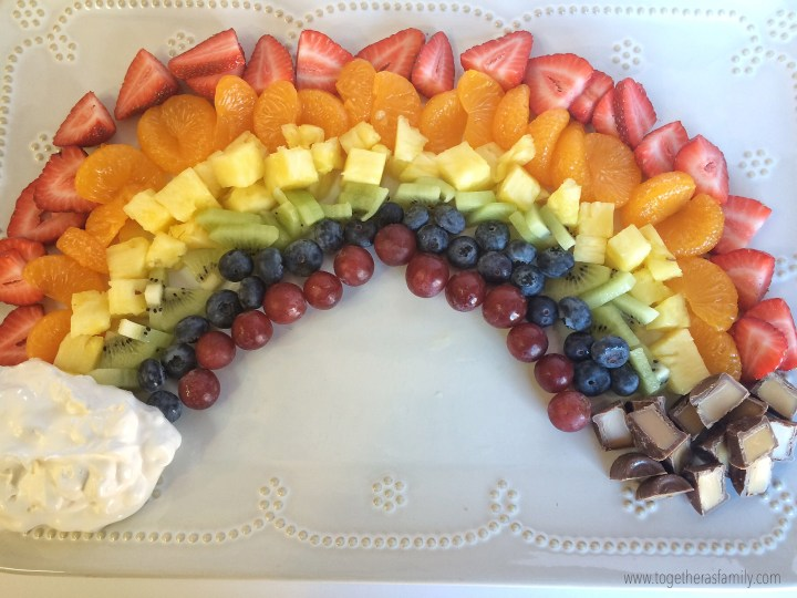 POT OF GOLD FRUIT RAINBOW   a fun & healthy way to celebrate St. Patrick's Day with the kids! www.togetherasfamily.com