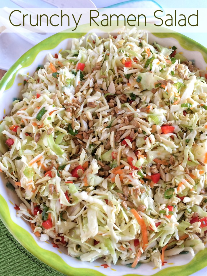 CRUNCHY RAMEN SALAD | Perfect potluck, bbq, or picnic salad. Everyone loves this stuff! www.togetherasfamily.com