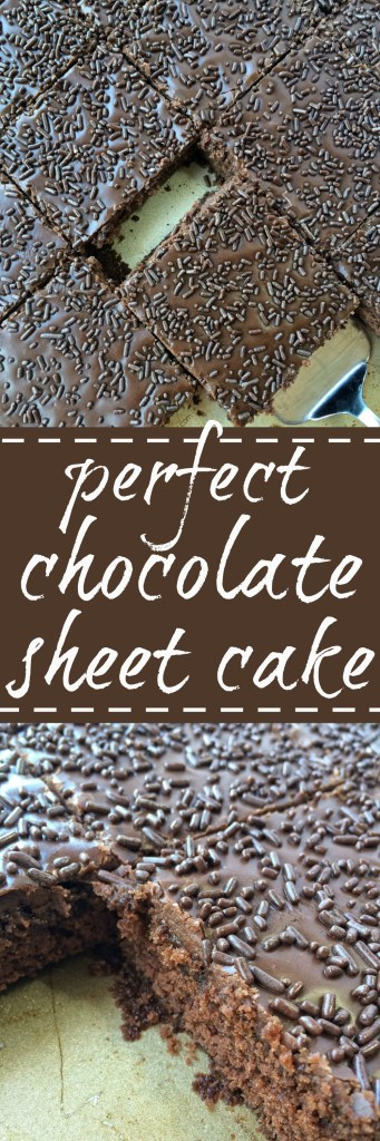 Deliciously moist, perfectly chocolatey, and bakes up beautifully each time. This perfect chocolate sheet cake is great for a large gathering, a birthday, or special dessert for family dinner or guests.