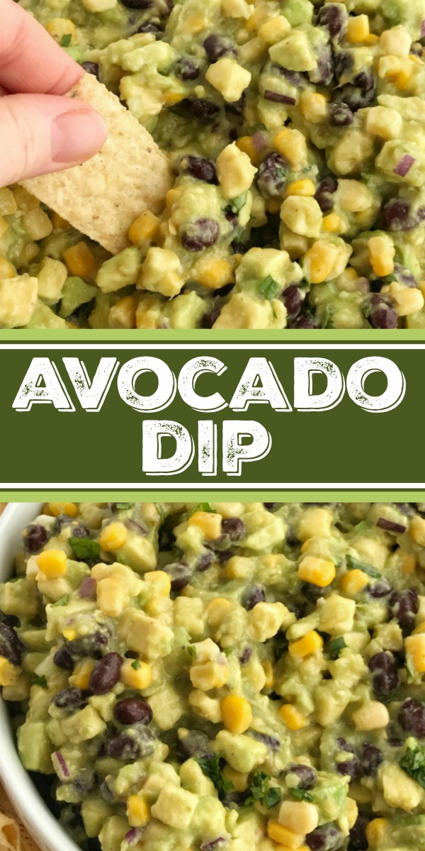 Avocado Dip | Appetizer | Avocados | Dips | Salsa | Avocado dip is packed full with chunky avocados, corn, black beans, red onion and then drizzled with easy & convenient canned salsa verde. So much flavor with very little effort. Avocado dip is the best game day appetizer, chip dip, and party food. #appetizers #avocados #partyfood #holidayfood
