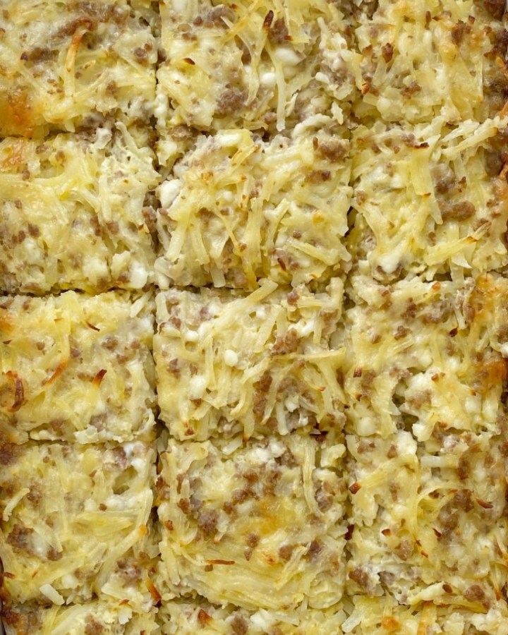 Breakfast Sausage Casserole is all your favorite breakfasts in one casserole! Shredded hash browns, fluffy eggs, cheese, and crumbled sausage. Serve as is or use it as filling for breakfast burritos topped with salsa and, sour cream, and cheese.