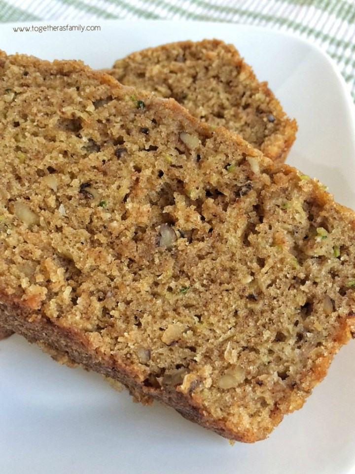 Whole wheat flour combined with 2 cups of shredded zucchini & chopped walnuts make this quick bread so moist, hearty, and delicious!