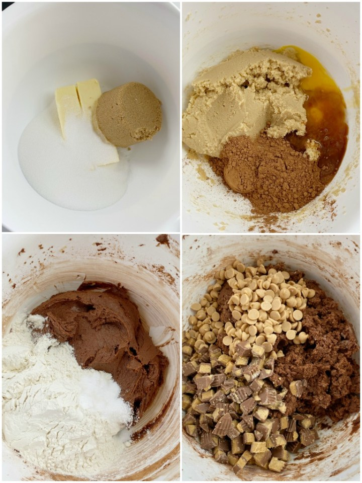 Step by Step photos on how to make chocolate Reese's cookies.