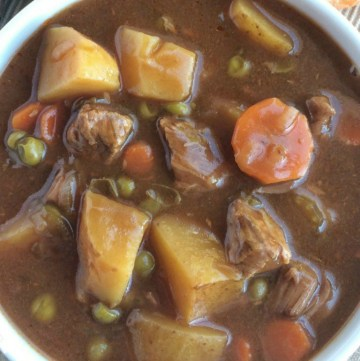 This slow cooker apple cider beef stew is a set it & forget it meal. A creamy, thick brown gravy & beef broth base with tender, chunky vegetables and fall-apart beef that cooks in the slow cooker all day. The apple cider adds some sweetness and is a nice twist to traditional beef stew.