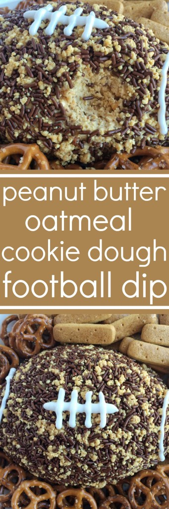 This snickers peanut butter oatmeal cookie dough football dip is sure to be a hit at your football party! An easy oatmeal cookie dough (no egg!) with peanut butter, and filled with crushed snickers peanut butter chocolate bars. The outside is covered in crushed peanuts and chocolate sprinkles to make it look like a football. This stuff is addicting!
