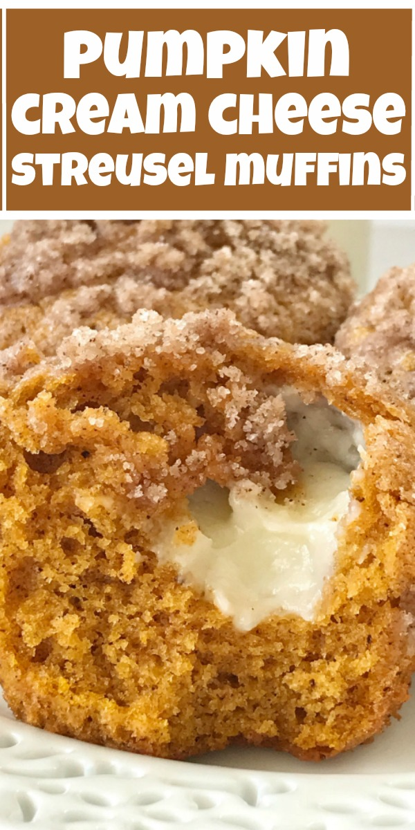 Pumpkin Cream Cheese Streusel Muffins | Pumpkin Muffins | Pumpkin Cheesecake | Pumpkin muffins with a sweet cheesecake center and topped with cinnamon streusel. These pumpkin cream cheese streusel muffins will be one of the best pumpkin muffins you ever make. #pumpkinspice #pumpkin #pumpkinmuffins #fallrecipes #muffins #cheesecake