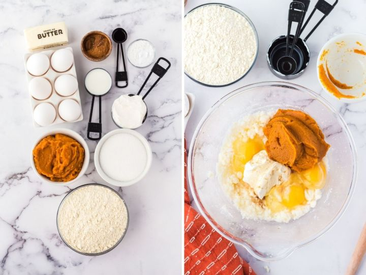 Ingredients need to make pumpkin sheet cake with two pictures. One with a bowl of the wet ingredients.