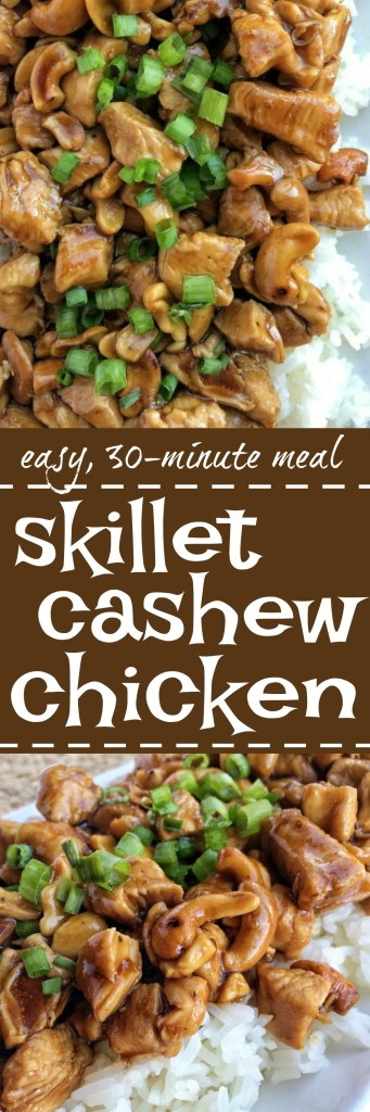 Tender, flavorful chunks of chicken in an easy homemade sauce and cashews. This easy, 30 minuteskillet cashew chicken will be a hit at the dinner table. Serve over rice and garnish with green onions.