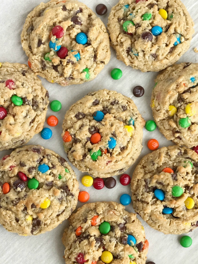 The Best Monster Cookies | Monster Cookies | Cookies | The best monster cookies are loaded with peanut butter, oats, chocolate chips, and m&m's! They are thick, chewy, and a soft-baked cookie, with a surprise ingredient, that are addictive and delicious. #cookies #dessert #dessertrecipes #thebestrecipes