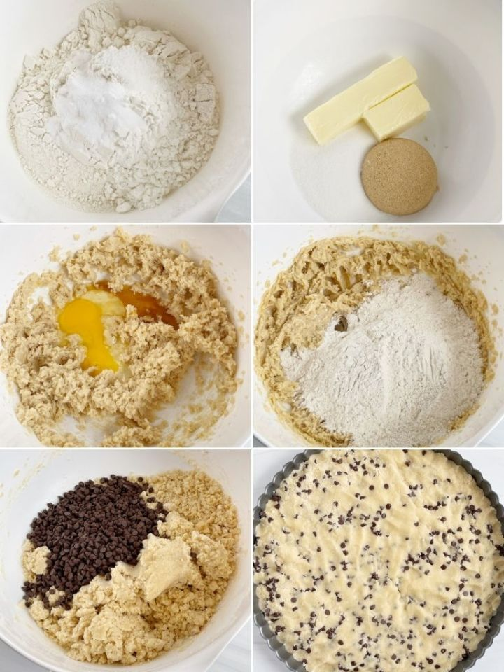 How to make a giant chocolate chip cookie with step by step pictures.