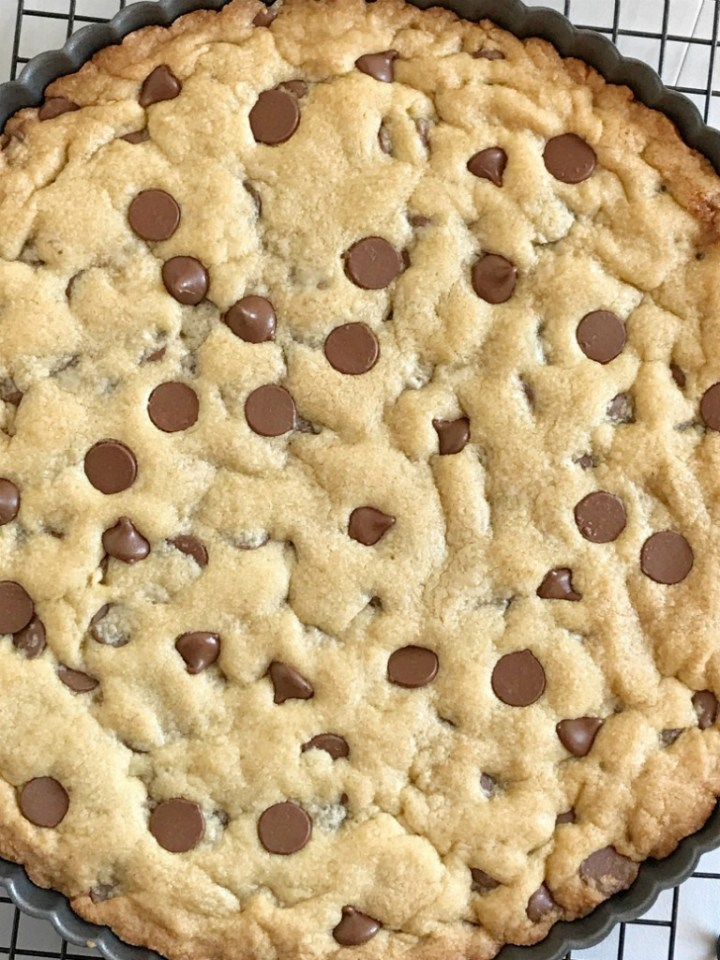 """You can't go wrong with a giant chocolate chip cookie! A 12"""" giant chocolate chip cookie that is fun for a sweet treat, to celebrate any Holiday or special occasion, or even a birthday. My kids request this for their birthday cake instead of cake!"""