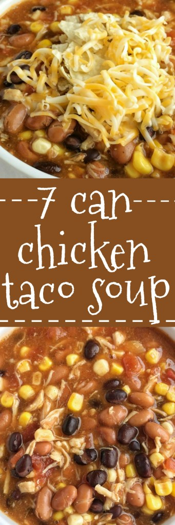 Dinner does not get any easier than this 7 can chicken taco soup! Dump 7 cans into a pot plus some seasonings and that's it! Serve with tortilla chips, cheese, and sour cream. You won't believe how yummy & easy it is | www.togetherasfamily.com #soup #tacosoup