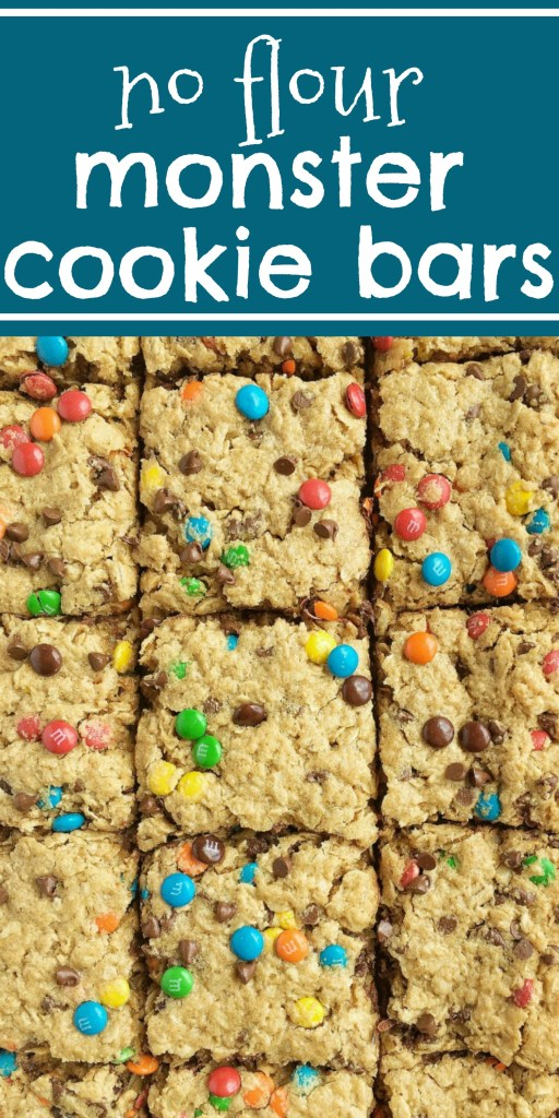No Flour Monster Cookie Bars | Cookie Bars | Monster Cookies | Gluten Free | No Flour | No Flour Monster Cookie Bars are made in a cookie sheet, or sheet pan and they're perfect for a crowd. #dessertrecipes #glutenfreedesserts #easydessertrecipes