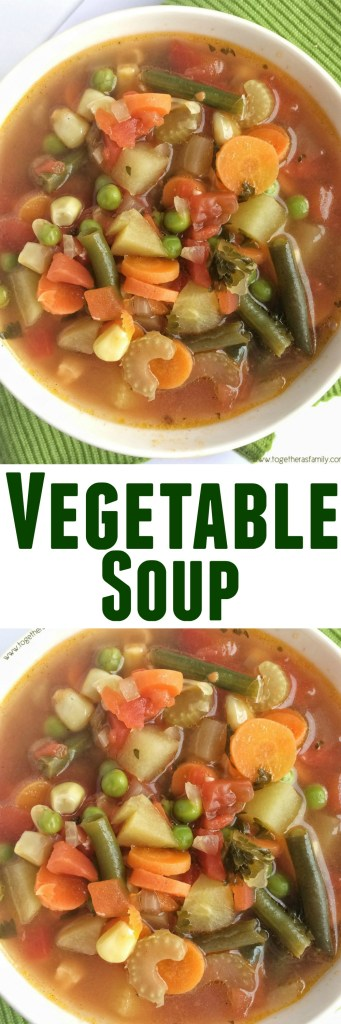 Loaded with healthy, nutritious vegetables. This vegetable soup cooks in one pot on the stove top and it's so delicious with great flavor.