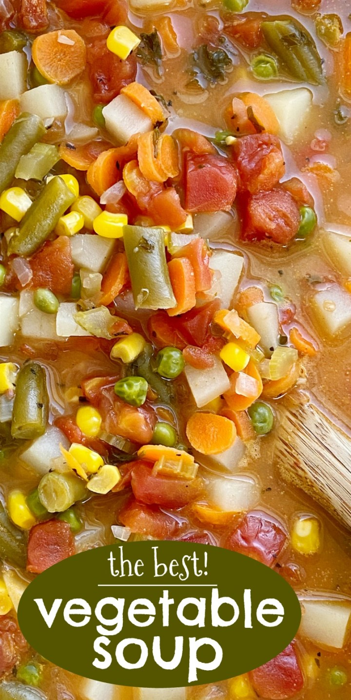 Vegetable Soup Recipe   Soup Recipes   Vegetable Soup   Vegetable Soup is packed with healthy and nutritious ingredients. Fresh vegetables in a perfectly seasoned broth base, and it cooks in one pot on the stove! Keeps for a week so leftovers are perfect for a healthy lunch. #healthyrecipe #souprecipes #vegetables #dinnerideas #recipeoftheday