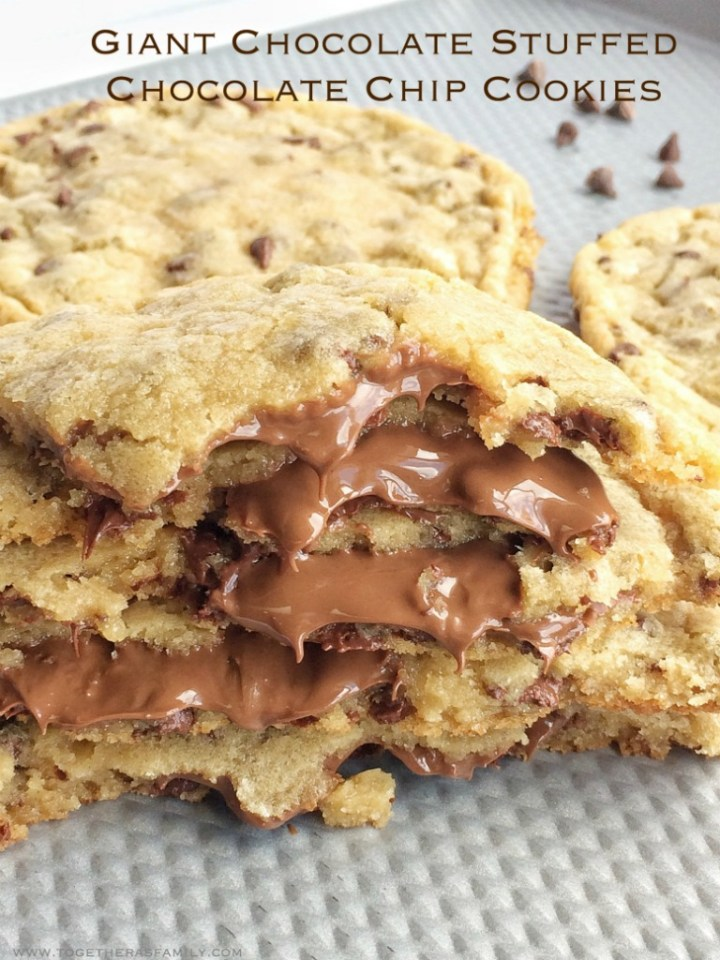 Giant chocolate chip cookies stuffed with Hershey chocolate in the middle!