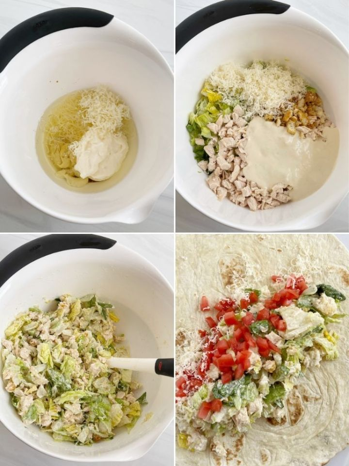 How to make chicken caesar wraps with step by step instructions with pictures.