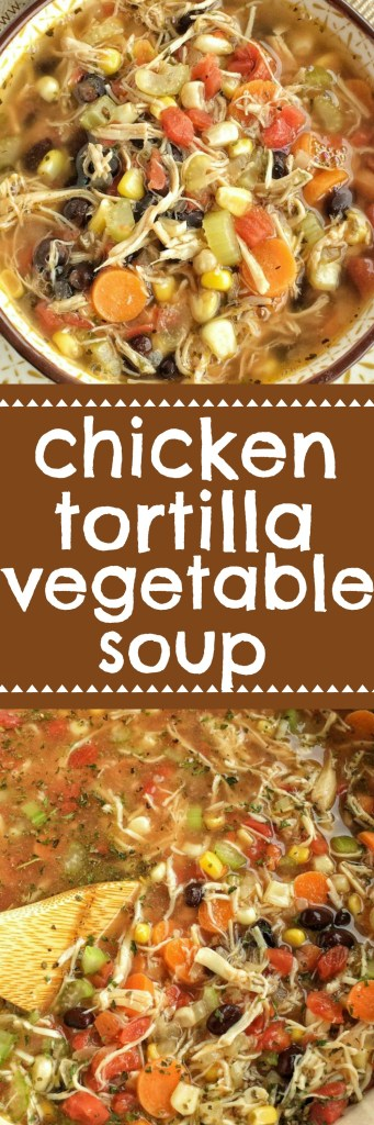 The southwest flavors that you love about chicken tortilla soup combined with healthy, hearty vegetables and spices. This chicken tortilla vegetable soup is so delicious and sure to be a family favorite. Top with crispy corn tortilla strips and cilantro | www.togetherasfamily.com #souprecipes #tortillasoup #vegetablesoup #recipes