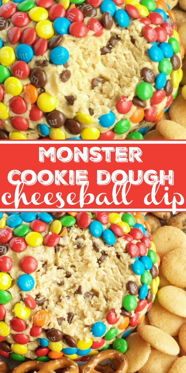 Monster Cookie Dough Cheeseball Dip | Cheeseball | Appetizer | Monster cookie dough cheeseball dip has no eggs and no flour! Everything you love about monster cookies; oats, peanut butter, chocolate chips, and m&m's but in a fun and tasty cheeseball. Serve with pretzels, graham crackers, and cookies. #easyrecipe #dessertrecipe #dessert #appetizer #monstercookies