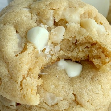 White Chocolate Macadamia Nut Cookies with white chocolate instant pudding mix.