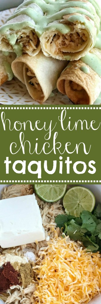 Baked Honey Lime Chicken Taquitos | A creamy, perfectly seasoned chicken mixture rolled up in a crispy flour tortilla and baked. No deep frying these taquitos! Baked honey lime chicken taquitos are a family favorite dinner. Dip in an easy sour cream salsa verde sauce and dinner is served.