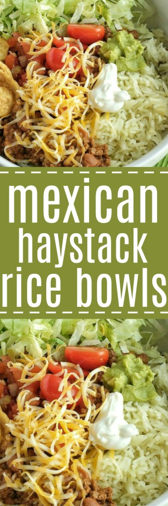 Mexican haystack rice bowls are a tex-mex lovers dream! Cilantro lime rice, seasoned beef, and then piled high with all your favorite toppings! Everyone can create their own. Don't forget the Fritos corn chips. They make this dish spectacular!