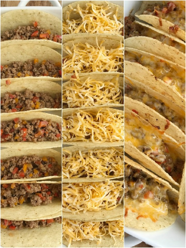 Baked beef fajita tacos have all your favorite things about a fajita but in a crunchy taco shell. Tender bell peppers, beef, and spices simmer together to create a delicious taco filling. Bake in corn taco shells for the ultimate crispy and yummy taco.