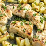 One sheet pan and the oven is all you need for a delicious and hearty dinner. Moist, tender chicken glazed with a honey garlic sauce and chunked potatoes covered in a simple seasoning of olive oil, salt, and pepper. This is a must try for dinner!