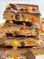 Reese's Pieces peanut butter bars taste like a Reese's but made at home.