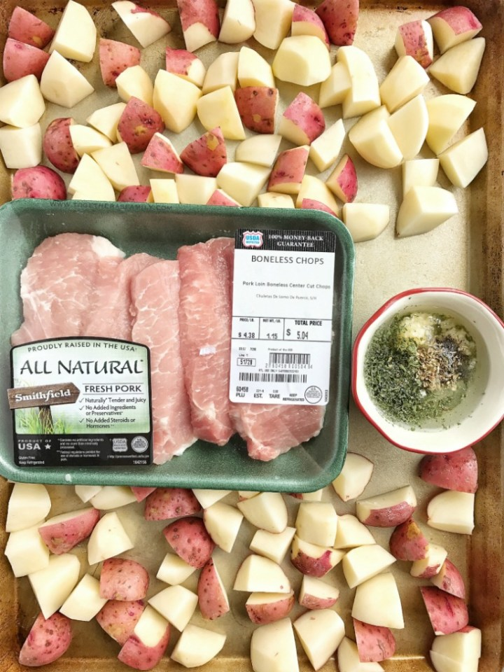 Dinner can be ready in a hurry with Smithfield All Natural Boneless Pork Chops and chopped potatoes roasted in an easy garlic ranch seasoning mix. One sheet pan and about 30 minutes is all you need for a healthy, delicious weeknight meal that is also great for a weekend dinner with guests.