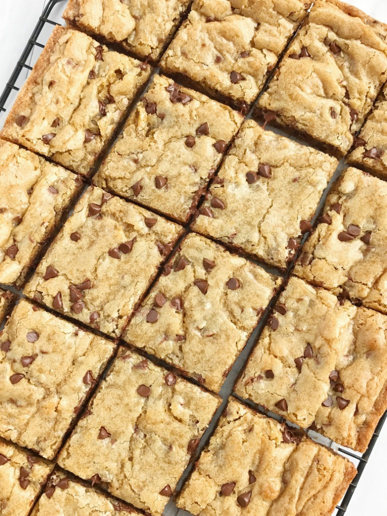 Chocolate Chip Cookie Blondie Bars - Together as Family