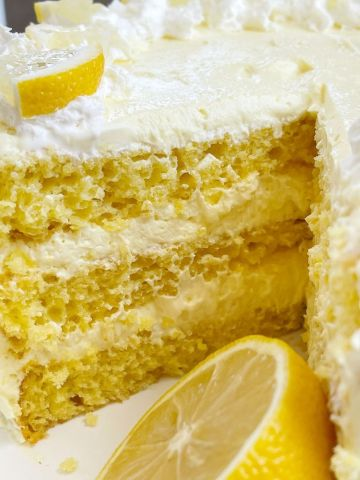 Recipe for lemon cake made with a cake mix and instant pudding mix.