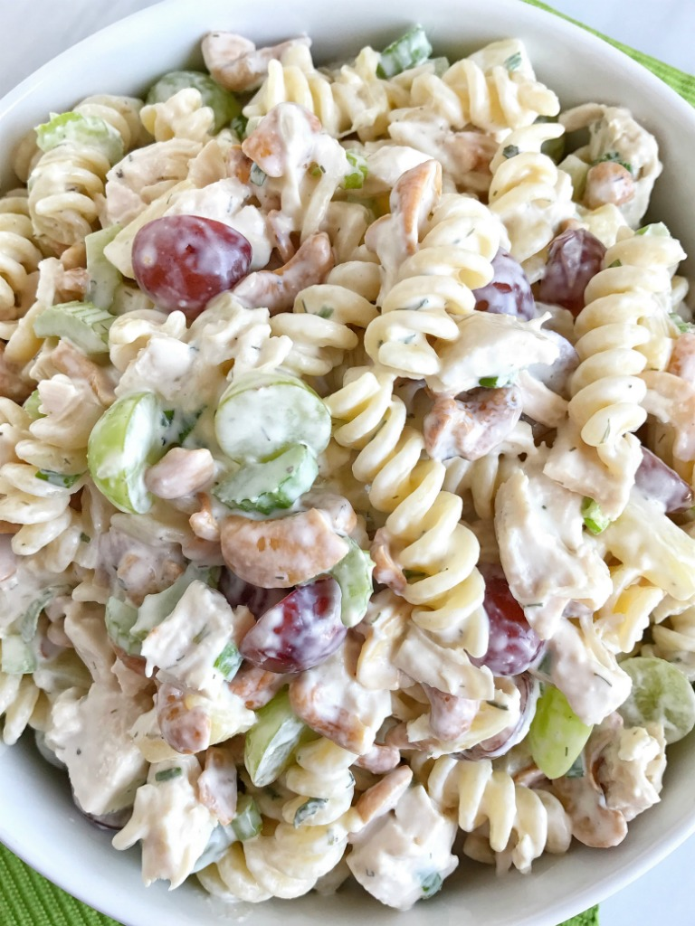 Main Dish For A Potluck Part - 35: Fruity Cashew Chicken Pasta Salad Is Loaded With Fruit, Cashew, Tender  Chunked Chicken,