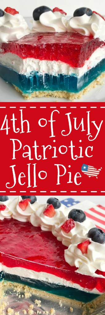 Celebrate the 4th of July with this delicious, totally festive, and easy patriotic Jello pie! 3 layers of red, white, and blue inside a store-bought prepared graham cracker crust. Top with additional Cool Whip and fresh fruit for a show stopper dessert at your own 4th of July picnic.