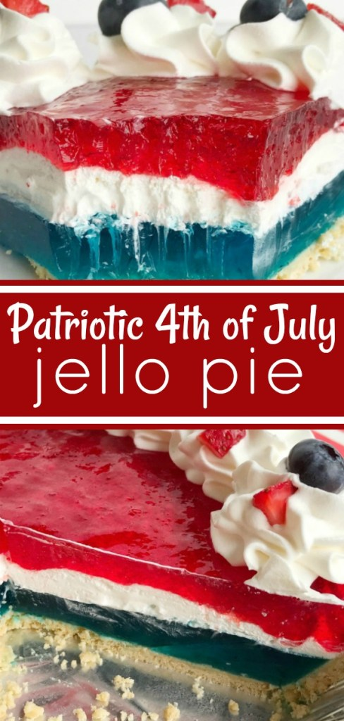 Patriotic 4th of July Jello Pie | No bake dessert | 4th of July recipe | Celebrate the 4th of July with this delicious, totally festive, and easy patriotic Jello pie! 3 layers of red, white, and blue inside a store-bought prepared graham cracker crust. Top with additional Cool Whip and fresh fruit for a show stopper dessert at your own 4th of July picnic. #easydessertrecipe #pie #nobake