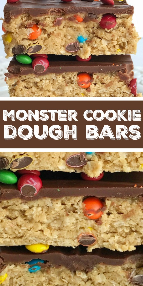 No Bake Monster Cookie Dough Bars | Monster Cookie Bars | No Bake Dessert | All your favorites about monster cookies but in no-bake, egg free monster cookie dough bars! Peanut butter, oats, chocolate, and m&m's. These can be made in just minutes and are a fun treat or dessert for the kids to make. Everyone will love these easy and simple cookie dough bars. #dessert #dessertrecipe #monstercookies #recipeoftheday #easyrecipe