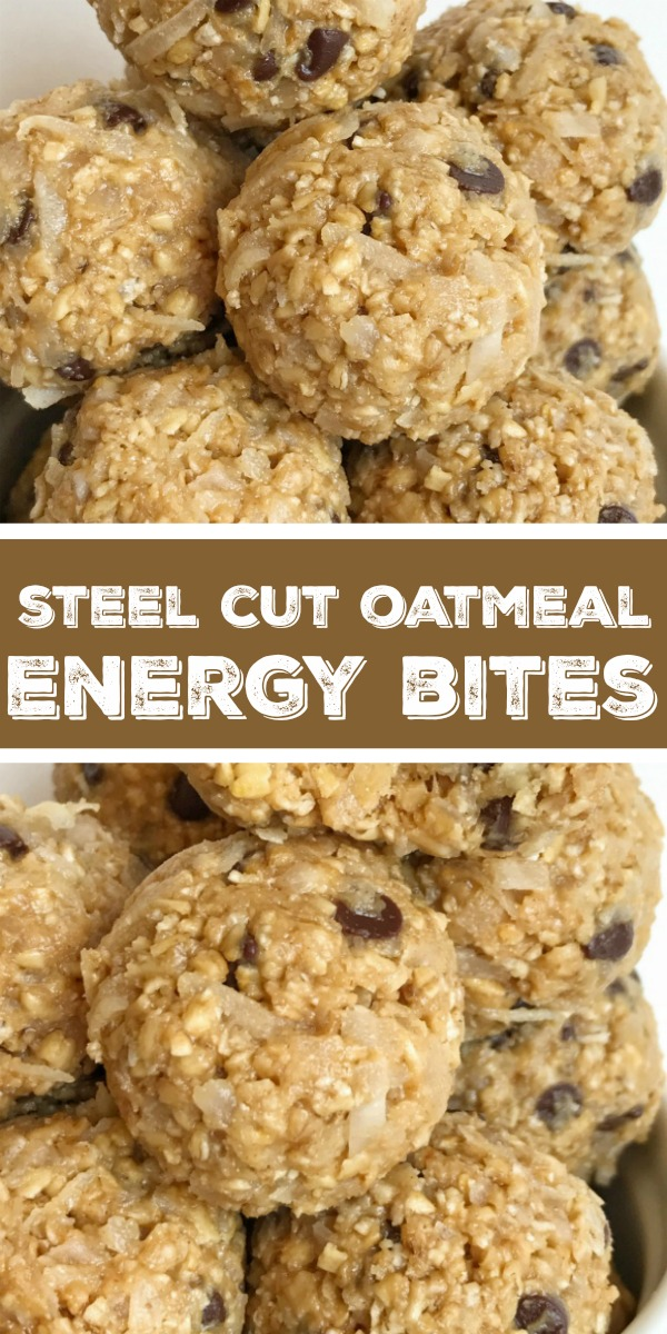 Steel Cut Oatmeal Energy Bites | Steel Cut Oat Energy Balls are an easy, 5 ingredient healthy snack. Steel cut oats, honey, peanut butter, chocolate chips, and coconut. Energy bites are the perfect afternoon snack. #healthyrecipe #snack #energybites #steelcutoats