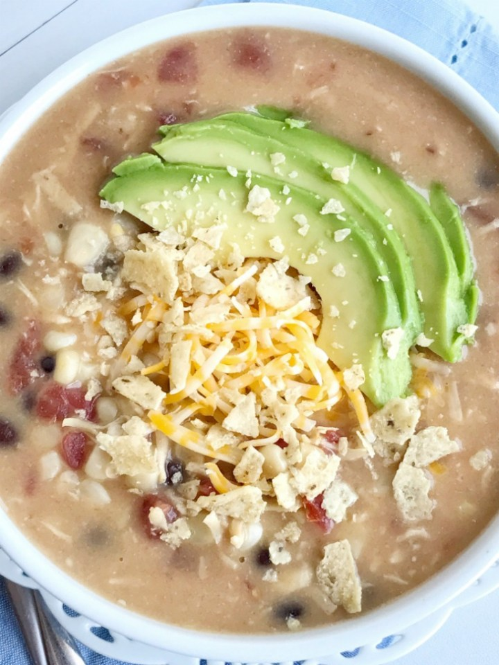 8 can creamy chicken taco soup is a quick dinner recipe that's perfect for those busy back-to-school weeknights. This soup can be on the dinner table in 30 minutes!