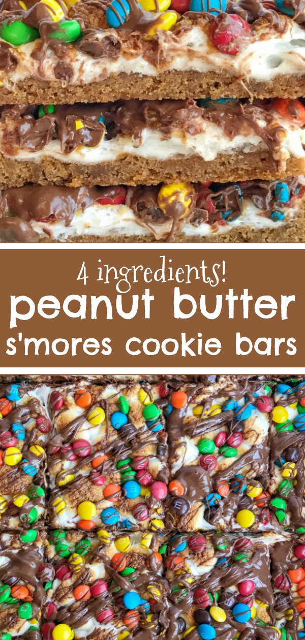 Peanut Butter S'mores Cookie Bars | S'mores | Peanut Butter | Cookies |Four ingredients are all you need for these super easy, quick to make, and delicious peanut butter s'mores cookie bars! Get the kids involved and make this fun dessert in a matter of minutes. Tastes just like a toasty s'mores with peanut butter and chocolate candies.