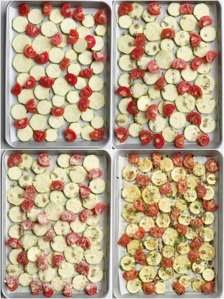 Roasted garlic parmesan summer vegetables are roasted in olive oil, flavorful seasonings, and parmesan cheese. Perfect for a side dish to dinner or a light lunch. Put all that beautiful summer produce to good use with this!