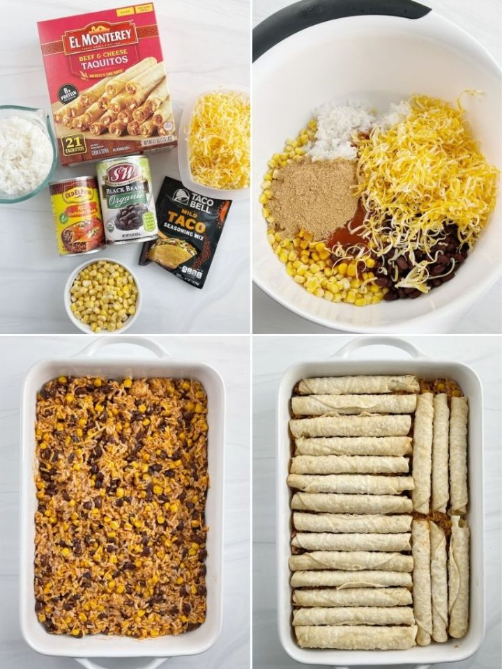 How to make taquito casserole with step-by-step picture instructions.