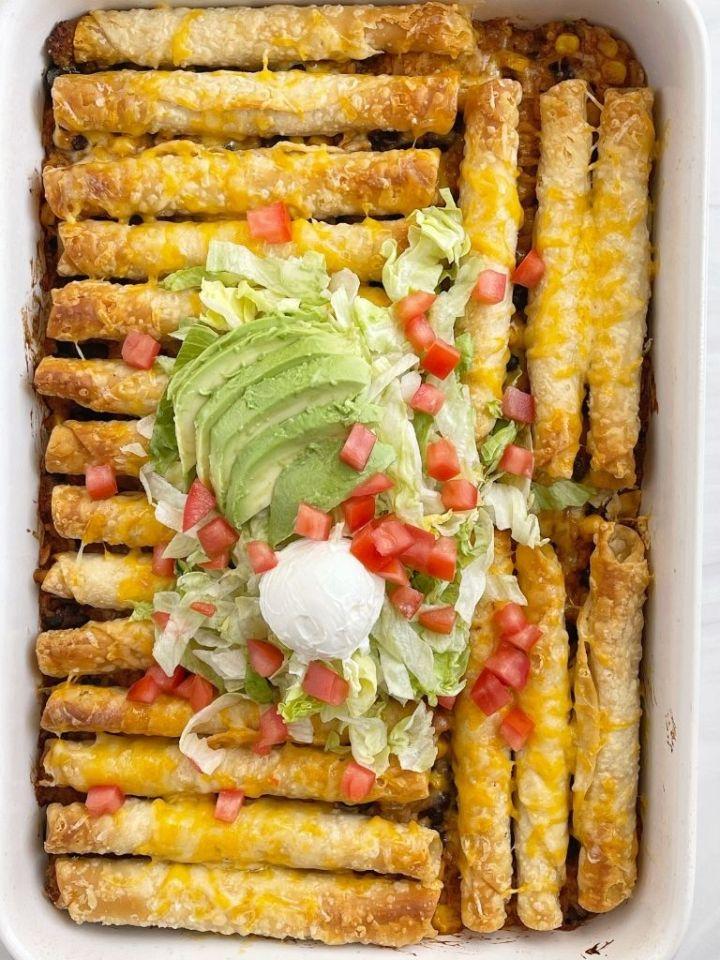 Taquito casserole recipe with frozen taquitos and rice.