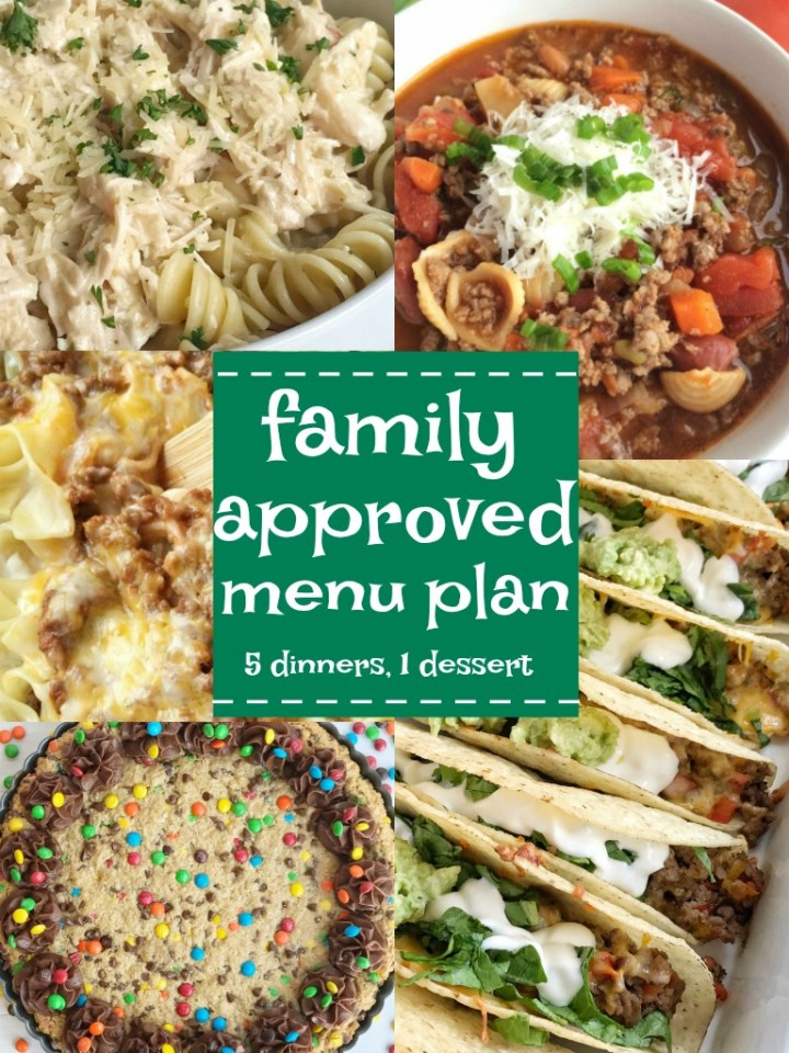 Family menu plan that everyone will love! These have all been kitchen tested over and over again, and will help you get dinner on the table. Easy, family approved, simple ingredients, and delicious food to enjoy together.