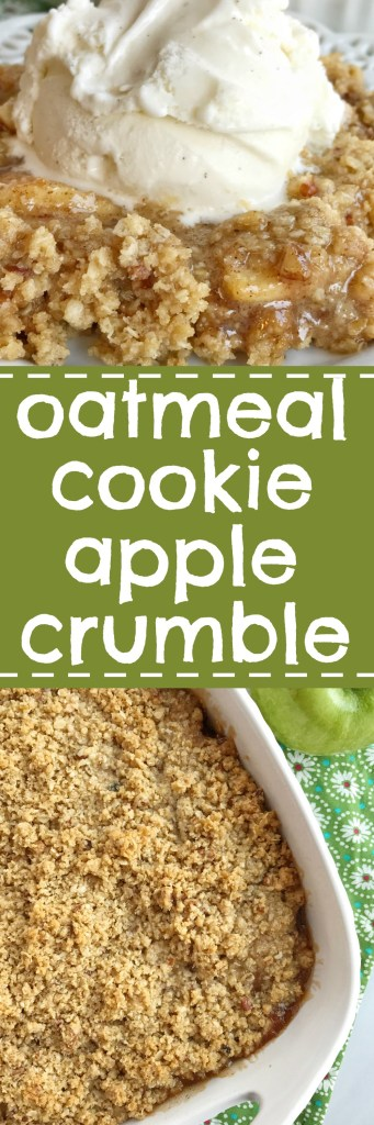 Oatmeal cookie apple crumble is the most delicious Fall dessert. Tender, sweet & tart apples covered in cinnamon and butter and topped with an easy oatmeal cookie crumble topping. Serve it with a scoop of vanilla ice cream for an incredible dessert.