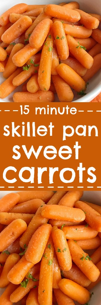 15 minutes is all you need for a healthy and slightly sweet side dish that even the kids will eat. Skillet sweet carrots are only a few simple ingredients that are so delicious and a great side dish to any meal.