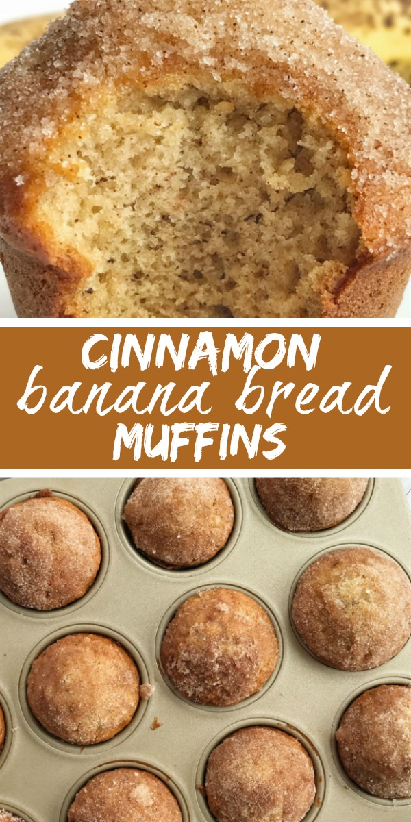 Cinnamon Banana Bread Muffins | Banana Muffins | Banana Bread Recipe | Banana Muffins taste like banana bread in muffin form with a sweet cinnamon & butter topping. They are perfectly light and moist, loaded with banana flavor, and bake up beautifully each time. All you need is one bowl. No mixer needed! #bananabread #muffins #snacks #recipeoftheday #bananarecipes #bananamuffins